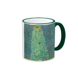 El girasol por Klimt, vintage florece el arte Taza De Café