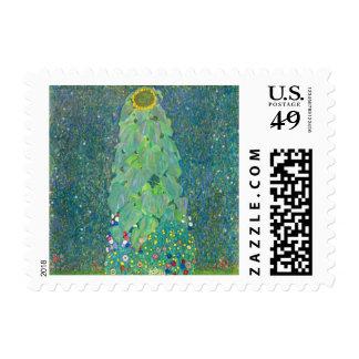El girasol por Klimt, vintage florece el arte Timbre Postal