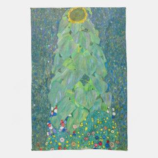 El girasol por Klimt, vintage florece el arte Toalla