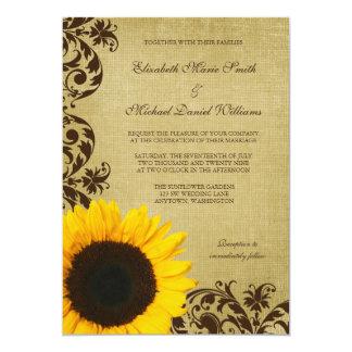 """El girasol rústico remolina boda invitación 5"""" x 7"""""""