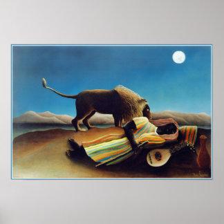 """""""El gitano durmiente"""" por Henri Rousseau Póster"""
