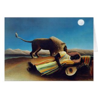 """""""El gitano durmiente"""" por Henri Rousseau Tarjeta De Felicitación"""