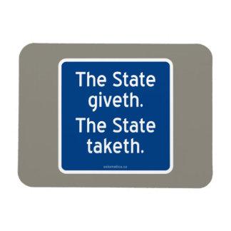 El giveth del estado. El estado taketh. Iman