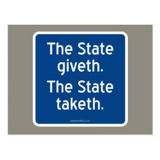 El giveth del estado. El estado taketh. Tarjetas Postales
