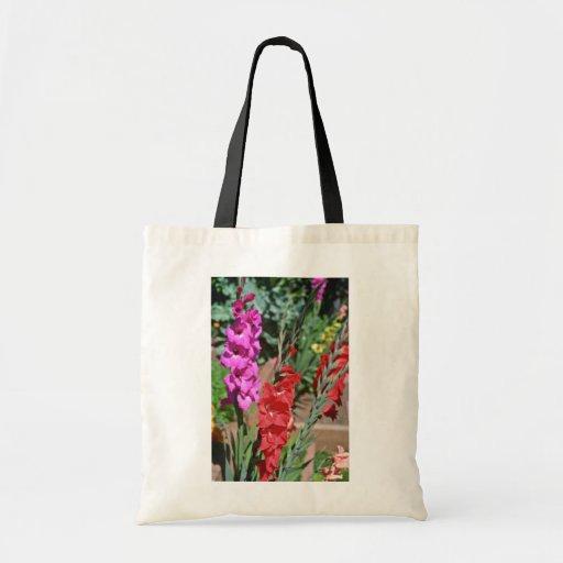 El gladiolo rojo y rosado acecha las flores bolsa tela barata
