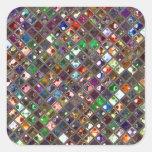 El Glitz teja el cuadrado multicolor del pegatina