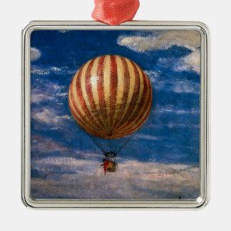 El globo, 1878 adorno navideño cuadrado de metal