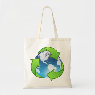 El globo cristalino de la tierra recicla el icono bolsa tela barata