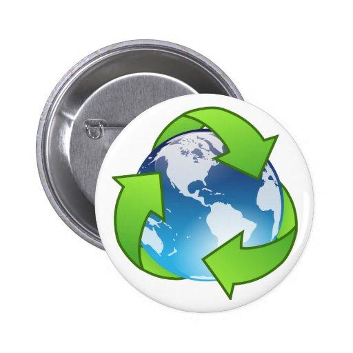 El globo cristalino de la tierra recicla el icono pins