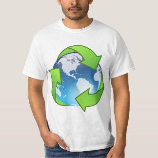 El globo cristalino de la tierra recicla el icono polera
