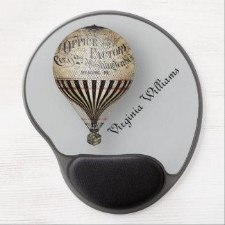 El globo del aire caliente del vintage añade nombr alfombrilla de ratón con gel