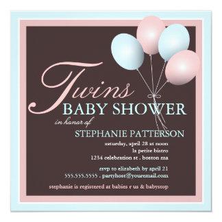El globo elegante del bebé hermana la invitación invitación 13,3 cm x 13,3cm
