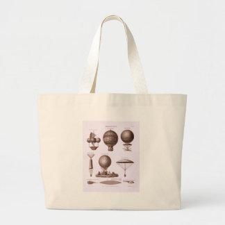 El globo histórico del aire caliente diseña imagen bolsa de mano