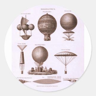 El globo histórico del aire caliente diseña imagen pegatina redonda