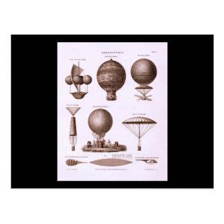 El globo histórico del aire caliente diseña imagen postales