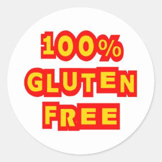 El gluten 100% libera pegatina redonda