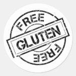 El gluten blanco y negro libera a los pegatinas pegatina redonda