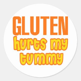 El gluten daña mi panza pegatina redonda