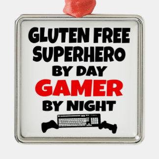 El gluten del videojugador libera al super héroe adorno navideño cuadrado de metal