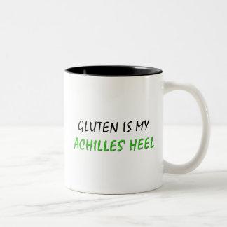 El gluten es el mi talón de Aquiles Taza De Dos Tonos
