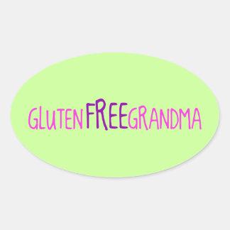 El gluten libera a la abuela pegatina ovalada