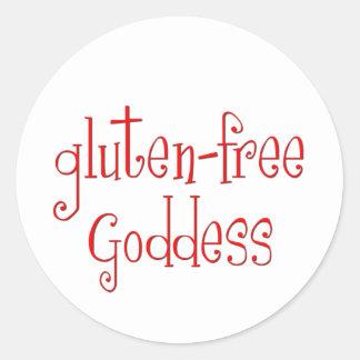 El gluten libera a la diosa etiqueta redonda