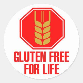 El gluten libera para la vida pegatina redonda