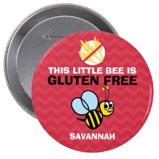 El gluten libre manosea el botón rojo de la abeja pin redondo de 4 pulgadas