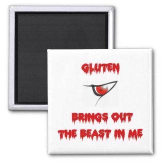 El gluten pone en evidencia la bestia en mí imán cuadrado
