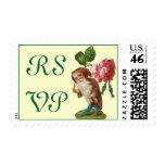 El gnomo de RSVP con un rosa sella Franqueo