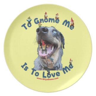 El gnomo yo me ama perro platos para fiestas