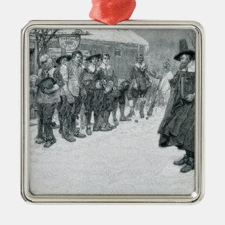 El gobernador del puritano adorno navideño cuadrado de metal