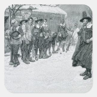 El gobernador del puritano pegatina cuadrada