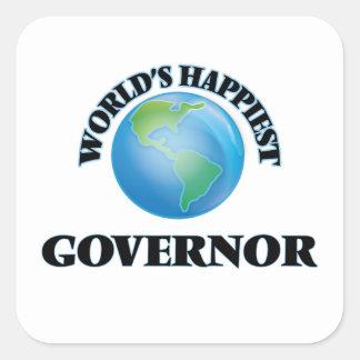 El gobernador más feliz del mundo pegatina cuadrada
