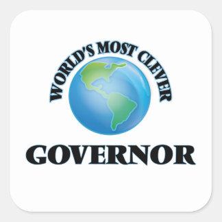 El gobernador más listo del mundo pegatina cuadrada