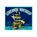 El gobernador Winthrop Apple etiqueta (azul) - Tarjeta Postal