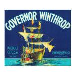 El gobernador Winthrop Apple etiqueta (azul) - Yak Impresiones En Lienzo Estiradas