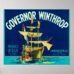 El gobernador Winthrop Apple etiqueta (azul) - Yak Posters