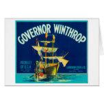 El gobernador Winthrop Apple etiqueta (azul) - Yak Tarjetón