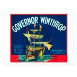 El gobernador Winthrop Apple etiqueta (rojo) - Postal