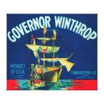El gobernador Winthrop Apple etiqueta (rojo) - Yak Impresiones De Lienzo