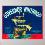 El gobernador Winthrop Apple etiqueta (rojo) - Yak Impresiones