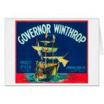 El gobernador Winthrop Apple etiqueta (rojo) - Yak Tarjeton