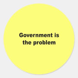 El gobierno es el problema pegatinas redondas