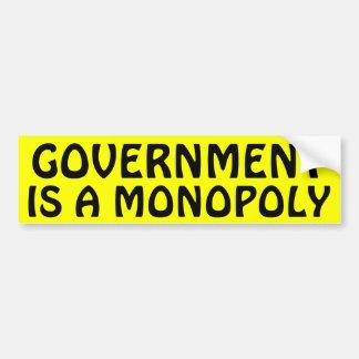 El gobierno es un monopolio etiqueta de parachoque