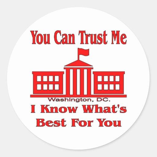 El gobierno federal dice me confía en etiqueta redonda
