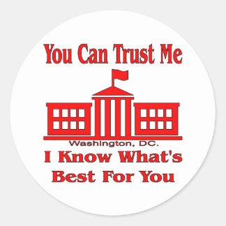 El gobierno federal dice me confía en pegatina redonda