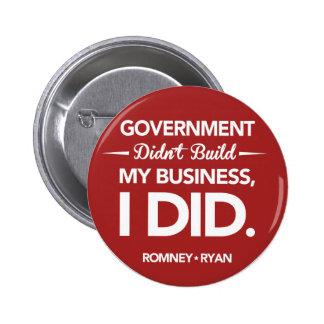 El gobierno no construyó mi negocio redondo (rojo) pin