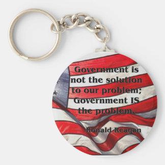 El gobierno no es la solución - cita de Reagan Llavero Redondo Tipo Pin
