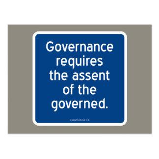 El gobierno requiere el asentimiento del gobernado postal